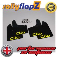 CLIO MK3 (2005-2012) BLACK MUDFLAPS (Logo Yellow)